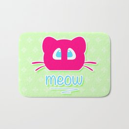 Pink cat head with blue eyes. Meow =) Bath Mat