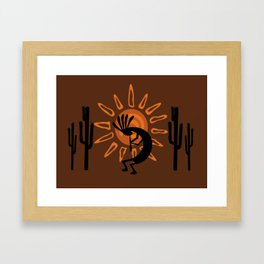 Rustic Brown Kokopelli Framed Art Print