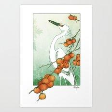 Egret and Persimmons Art Print