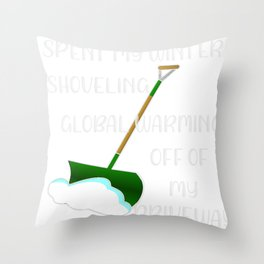 Winter Funny Snow Global Warming Gift Throw Pillow
