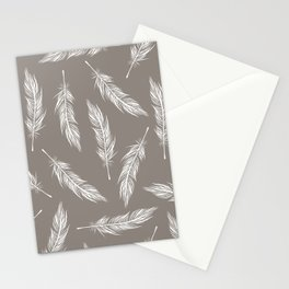 White Feather Pattern Stationery Cards