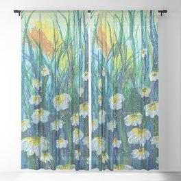 White Flowers in Bloom Sheer Curtain