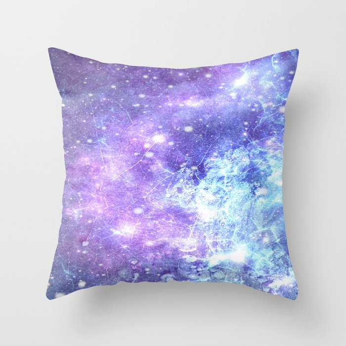 Grunge Galaxy Lavender Periwinkle Blue Throw Pillow
