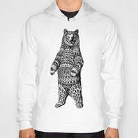 bear Hoodies featuring Ornate Grizzly Bear by BIOWORKZ