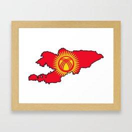 Kyrgyzstan Map with Kyrgyz Flag Framed Art Print