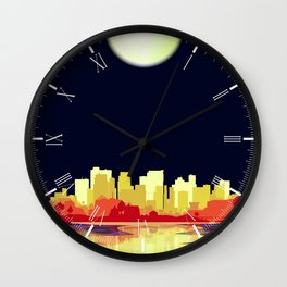 City Under A Pale Moon Wall Clock