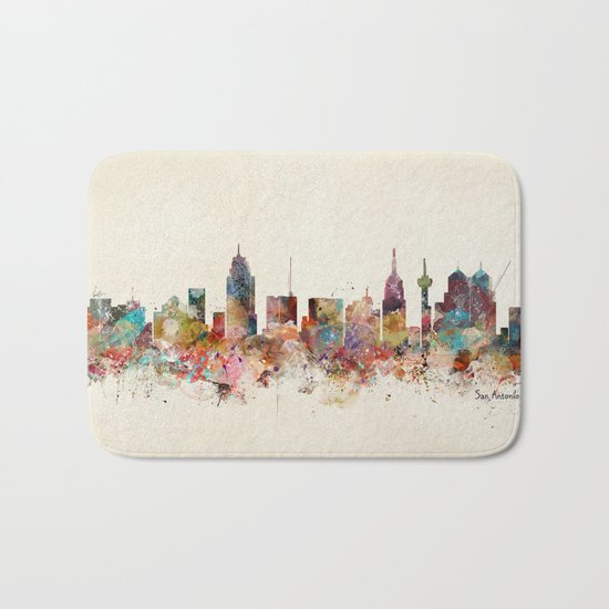 san antonio texas skyline Bath Mat