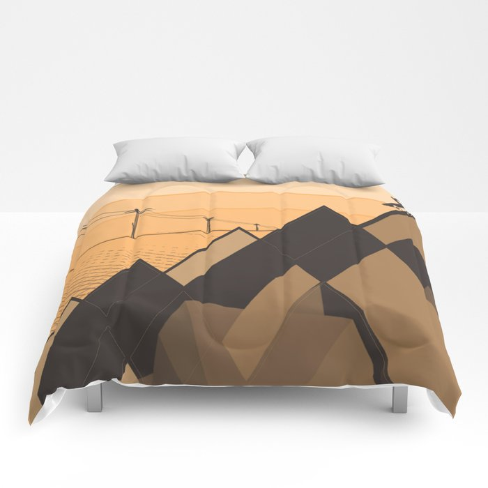 Little mountains and a car  Comforters