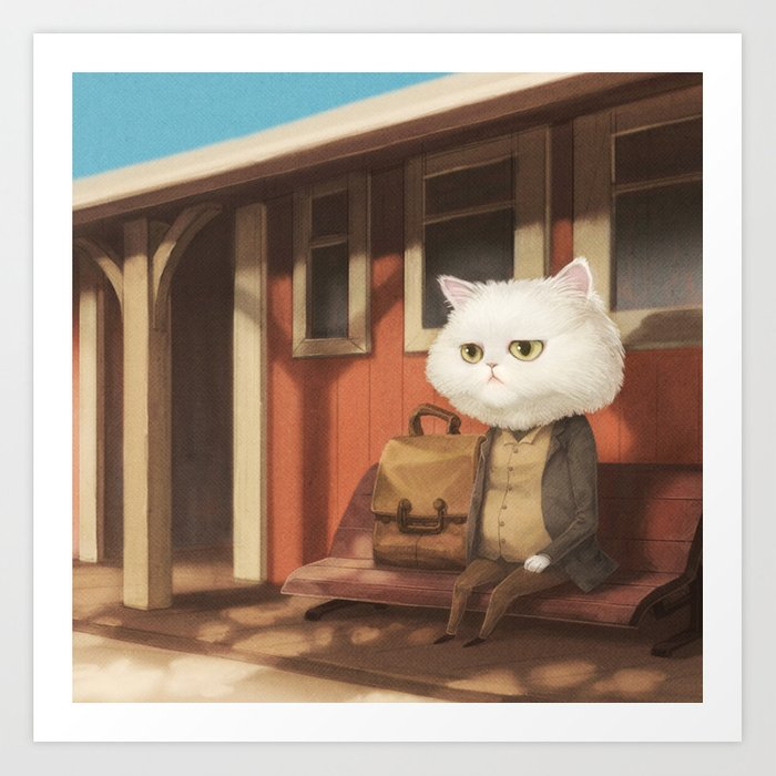 A cat waiting for someone Art Print