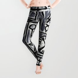 Construction in Gray and Black with Red Center- Joaquin Torres Garcia Leggings