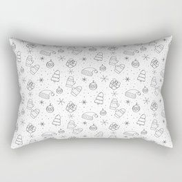 New Year Christmas winter holidays pattern with gifts, candys, christmas tree and toys, santa hat, s Rectangular Pillow