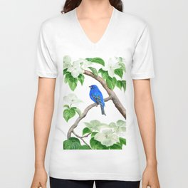 Royal Blue-Indigo Bunting in the Dogwoods by Teresa Thompson Unisex V-Neck