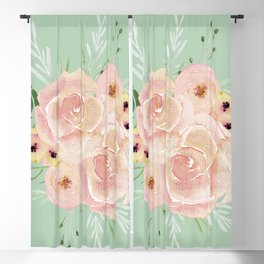 Wild Roses on Pastel Cactus Green Blackout Curtain