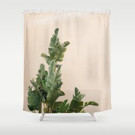 Tropical palms on pastel | Lush greenery in the South of France | Botanical art print Shower Curtain