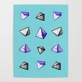 Blue Geometric Watercolor Pyramid Pattern Poster