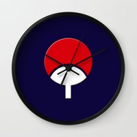 sasuke Wall Clocks featuring SASUKE UCHIHA CLAN LOGO/NARUTO by BeautyArtGalery