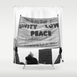 unity, love, peace Shower Curtain
