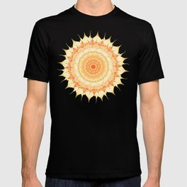 Delicate Mandala orange on white T-shirt