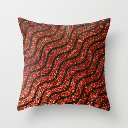 Red Glitter With Black Squiggle Pattern Throw Pillow