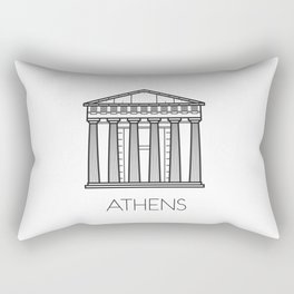 Acropolis Athens Greece Black and White Rectangular Pillow
