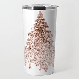 Sparkling christmas tree rose gold ombre Travel Mug