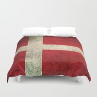 denmark Duvet Covers featuring Old and Worn Distressed Vintage Flag of Denmark by Jeff Bartels