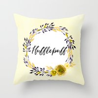 hufflepuff Throw Pillows featuring HP Hufflepuff in Watercolor by Snazzy Sisters