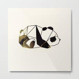 Black Gold Geometric Panda Metal Print
