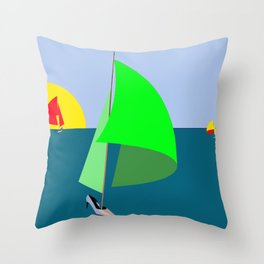 May in green red and yellow Throw Pillow