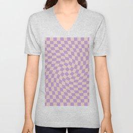Check V - Lilac Twist — Checkerboard Print Unisex V-Neck