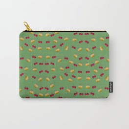 cherries and plums on a green background Carry-All Pouch