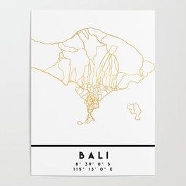 BALI INDONESIA CITY STREET MAP ART Poster
