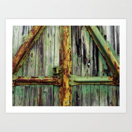 Yellow and Green Train Art Print