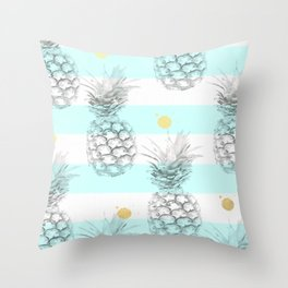 Pineapple express - aqua stripe gold splat Throw Pillow