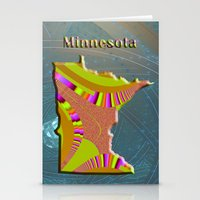 minnesota Stationery Cards featuring Minnesota Map by Roger Wedegis