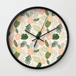 Yellow and Green Tropical Floral Pattern Wall Clock