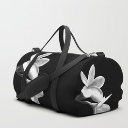 White Flowers Black Background Duffle Bag