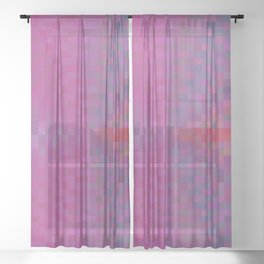 geometric square pixel pattern abstract background in pink and blue Sheer Curtain
