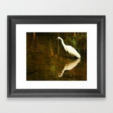 White Heron on Mill pond Framed Art Print