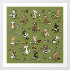 Retro cows - green Art Print