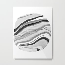 Shadow of Ourselves Marbling Marble Circle World Black and White Metal Print