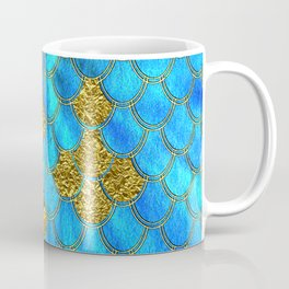 Blue Aqua Turquoise And Gold Glitter Mermaid Scales -Beautiful Mermaidscales Pattern Coffee Mug