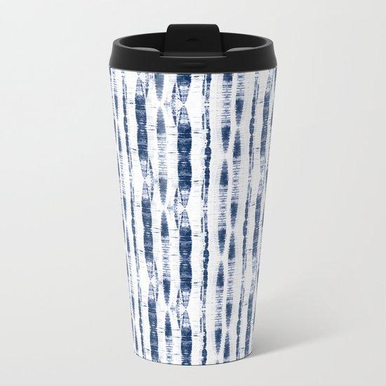 Shibori Stripes 2 Indigo Blue Metal Travel Mug