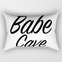 Babe Cave - White and Black Rectangular Pillow