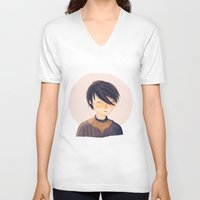 arya V-neck T-shirts featuring There Is Only One Thing We Say To Death by Nan Lawson