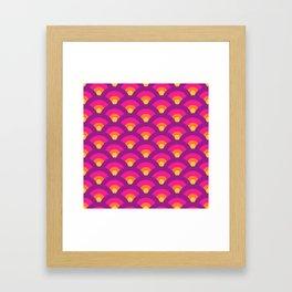 Retro Rainbow Seigaiha Waves (Purple, Pink, Orange, Yellow) Framed Art Print