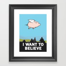 The X-Files: I Want to Believe Poster Flying Pig Spoof Framed Art Print