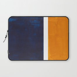 Navy Blue Yellow Ochre Abstract Minimalist Rothko Colorful Mid Century Color Block Pattern Laptop Sleeve