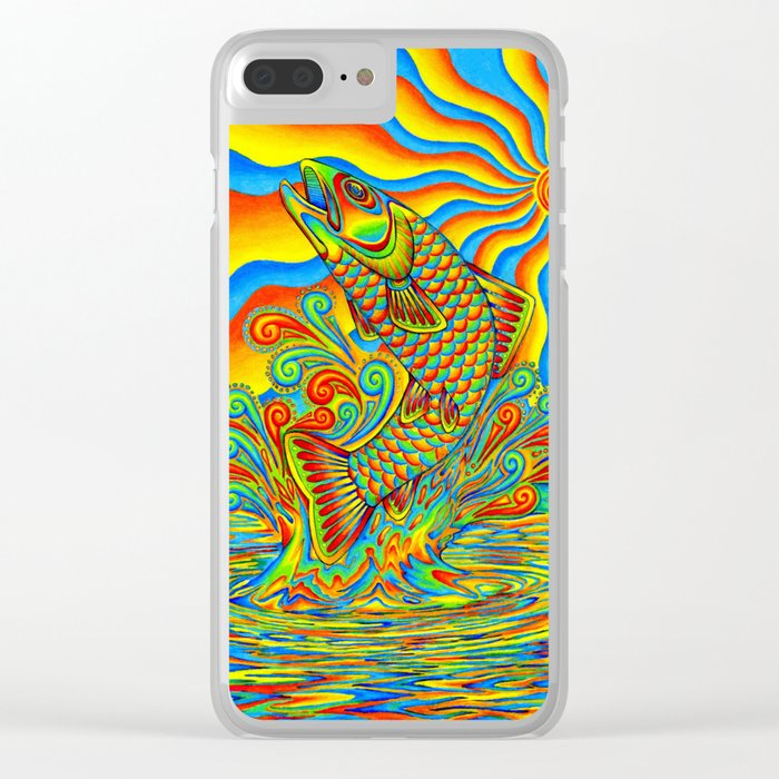 Psychedelic Rainbow Trout Fish Clear iPhone Case