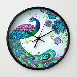 Flaunting It Peacock Wall Clock